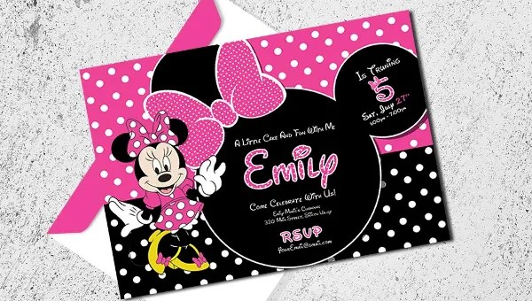 minnie mouse invitation templates psd