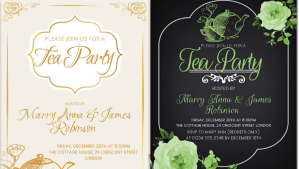 tea party invitation templates psd