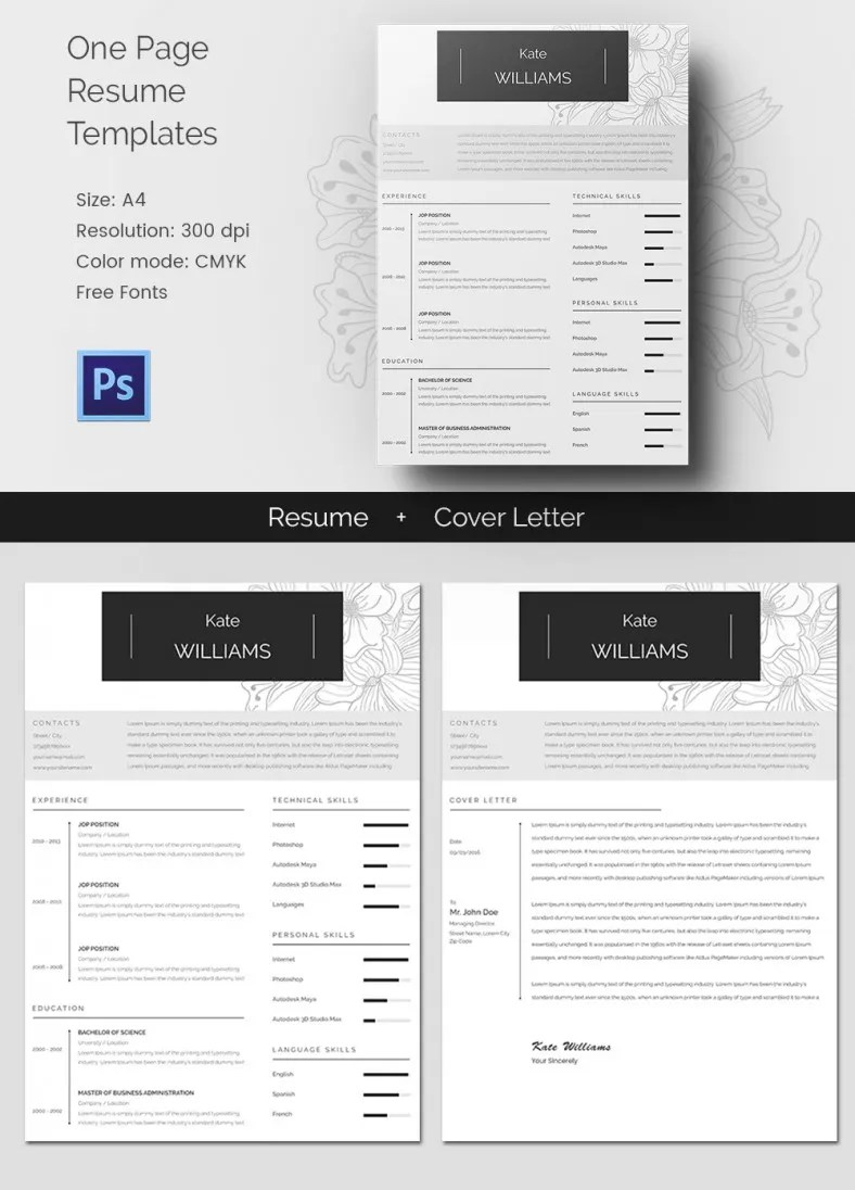 41 one page resume templates free samples examples amp formats