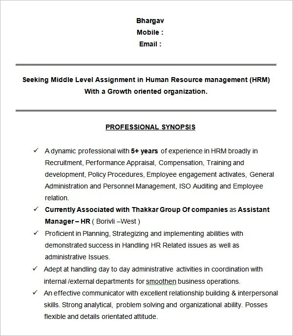 director of human resources resumes