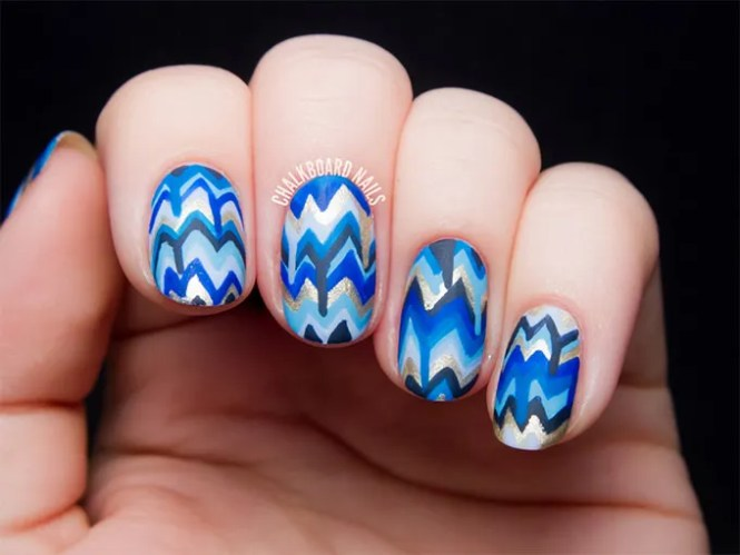 Blue And Black Stripes Design Nail Art