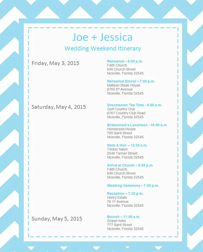 vacation itinerary template jdsbrainwave. event itinerary template 5 ...