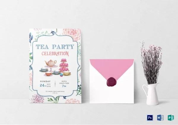 tea party invitation templates psd