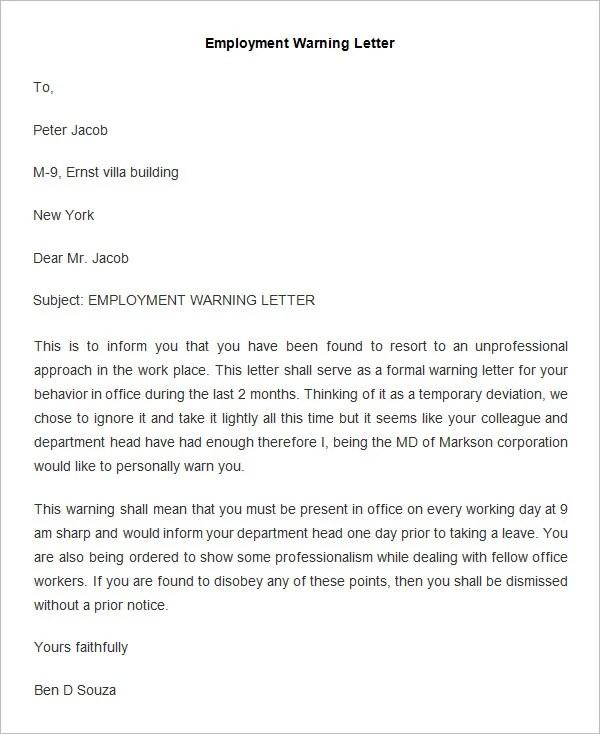 Verbal Warning Template. 33 hr warning letters free sample example ...