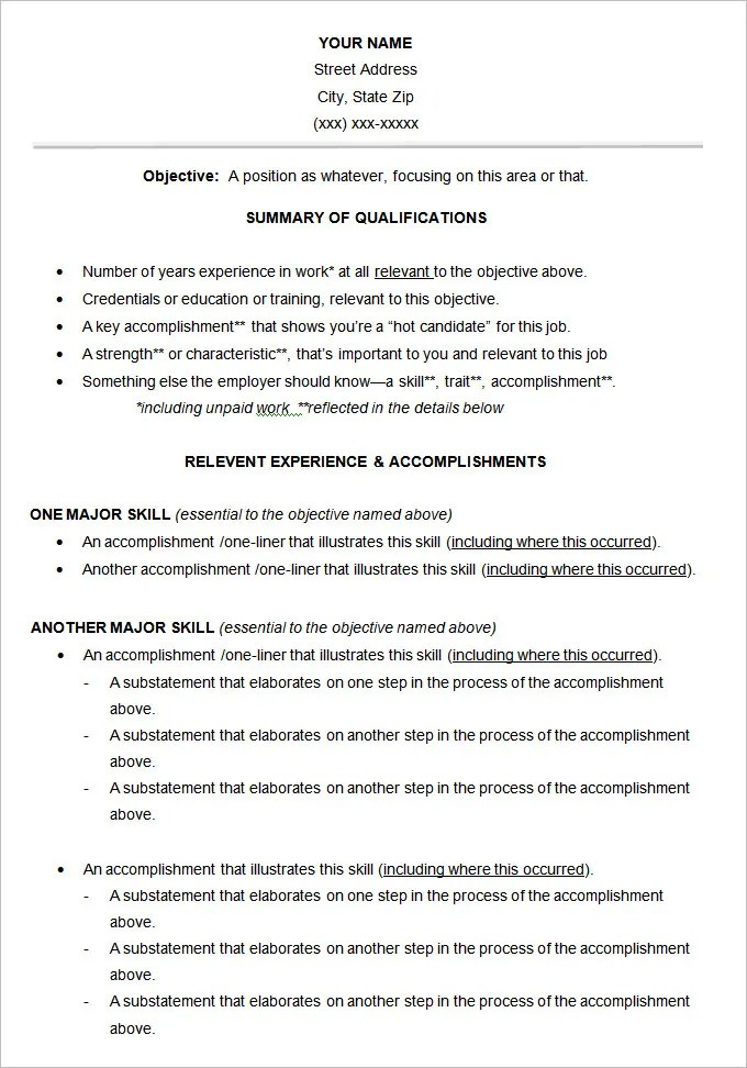 Resume Functional Examples. Functional Resume Template. Functional
