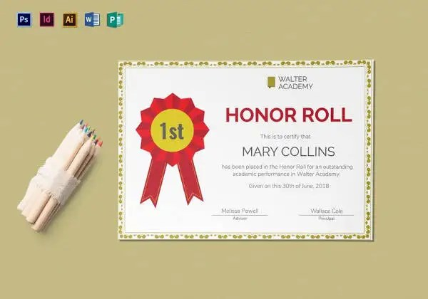 9  Printable Honor Roll Certificate Templates     Free Word  PDF     Honor Roll Certificate Template