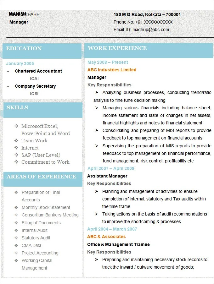 Sample Resume for Accountant - Download Now.