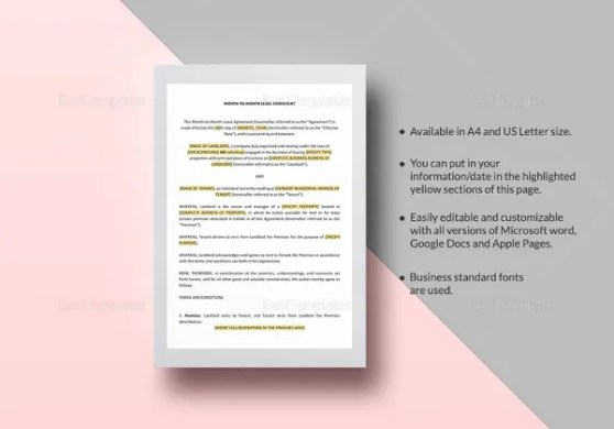 19  Rental Lease Agreement   Free Sample  Example Format Download     month to month lease agreement template