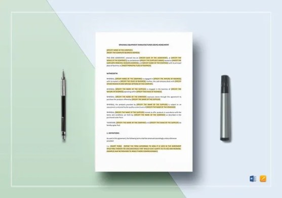19  Equipment Rental Agreement Templates   DOC  PDF   Free   Premium     OEM Agreement Template in Word