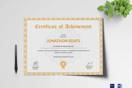 33  Fabulous Achievement Certificate Templates   Designs   Free     Printable Achievement Certificate Template