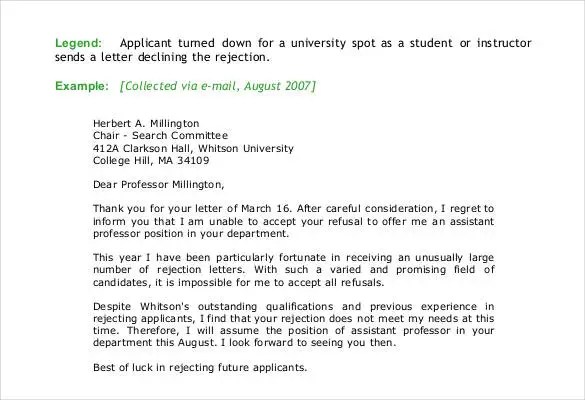 college rejection letter template - sample letter declining invitation to bid