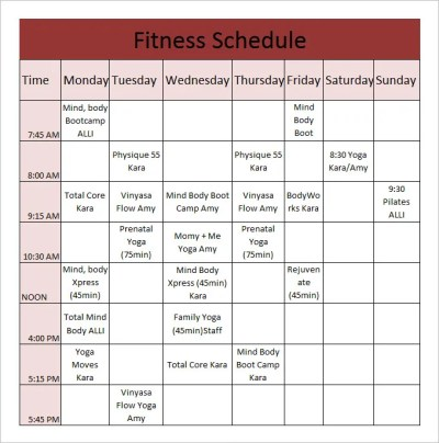 Fitness Schedule Template -12+ Free Excel, PDF Documents ...
