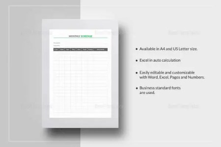 21  Monthly Work Schedule Templates   PDF  DOC   Free   Premium     Sample Monthly Schedule Template
