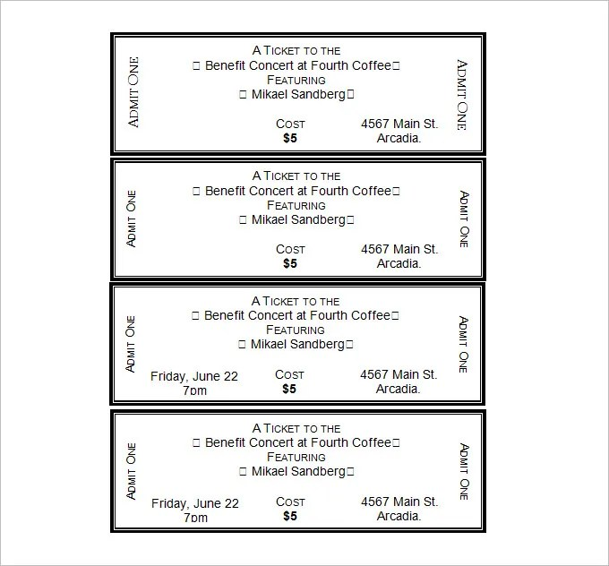 Doc500231 Ticket Template Free Printable Free Printable Event – Admit One Template