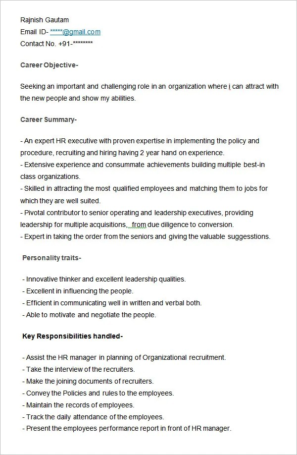 Hr Executive Resume Format. Executive Resume Template Example. 47