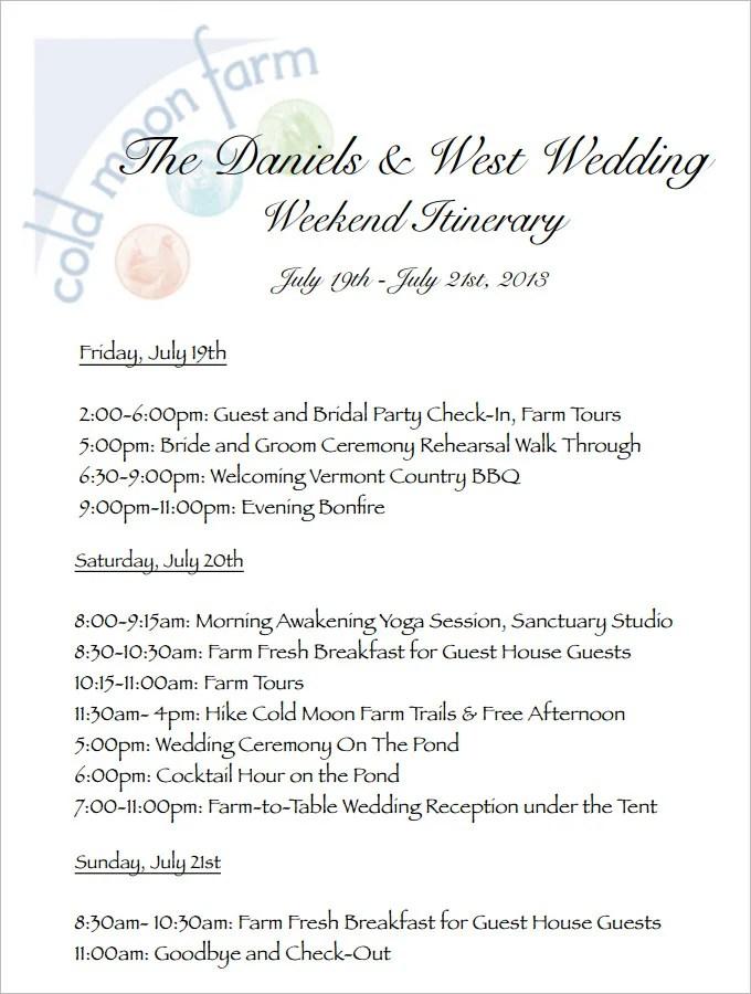 Wedding Itinerary Template sample travel itinerary templates to – Birthday Itinerary Template