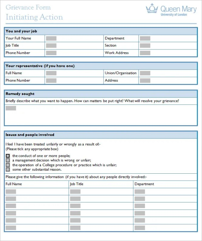 Grievance Form Template  BesikEightyCo