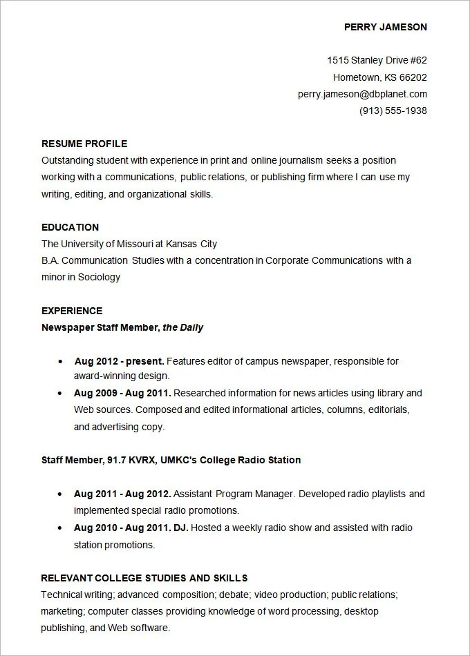 resume for college templates resume template builder template