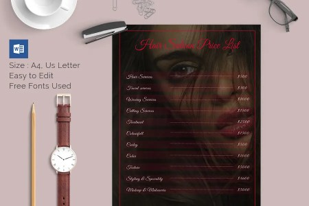 25  Price List Templates   DOC  PDF  Excel  PSD   Free   Premium     Hair Saloon Price List Template