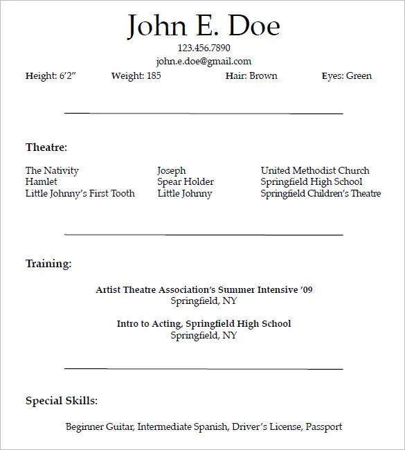 10 acting resume templates free samples examples amp formats