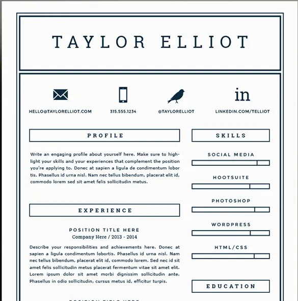 Attractive 41 One Page Resume Templates Free Samples Examples Formats