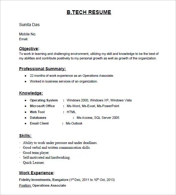 non technical resume format