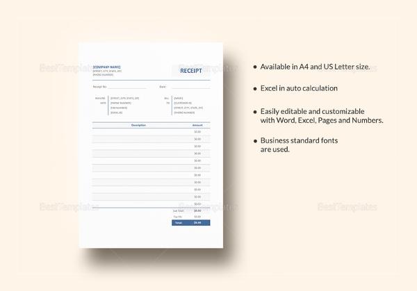 26 Blank Receipt Templates Doc Excel Pdf Vector Eps