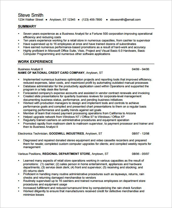 resume sample business analyst ba ex10jpg business analyst