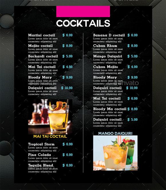 Cocktail Menu Templates 59 Free Psd Eps Documents