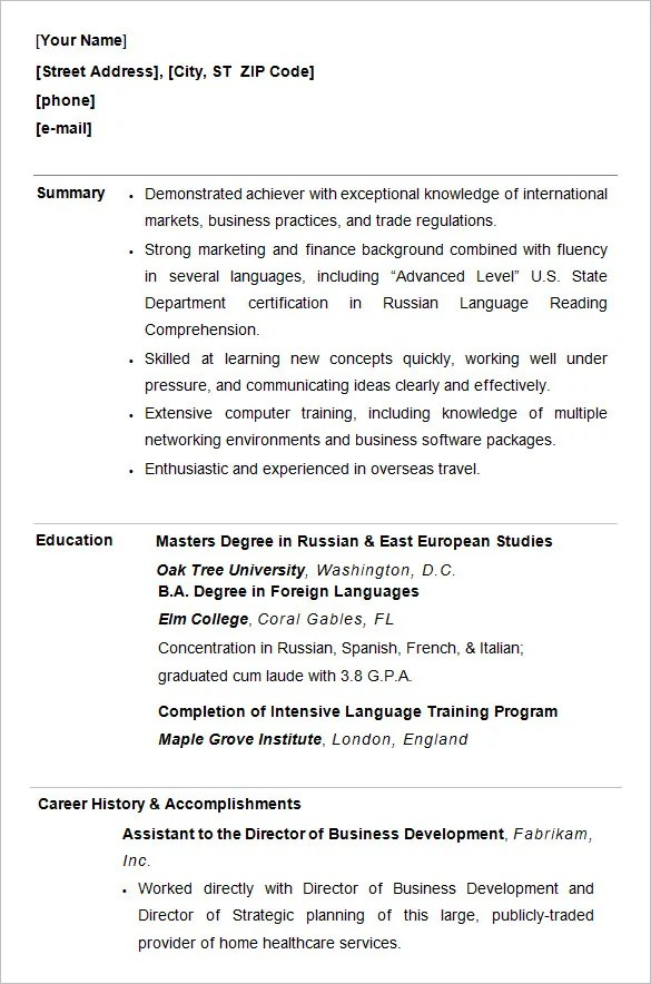 10 college resume templates free samples examples amp formats