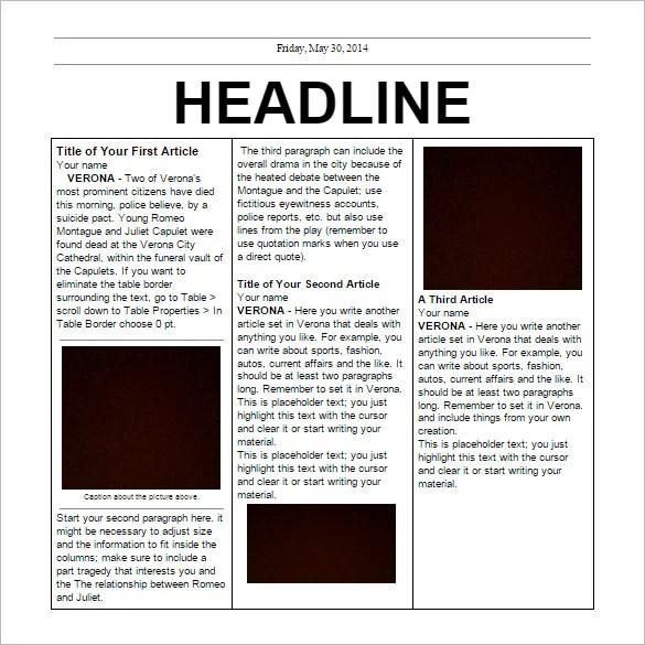 School Newspaper Template Free. 8 school newspaper templates free ...