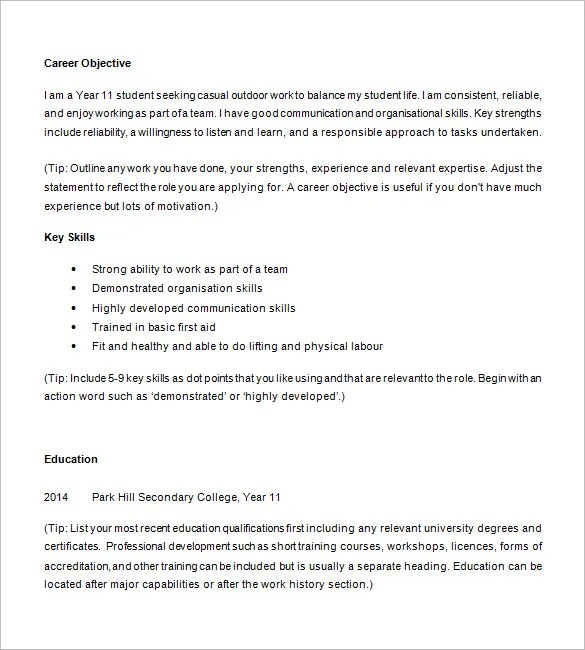 resume template high school student undergraduate resume sample