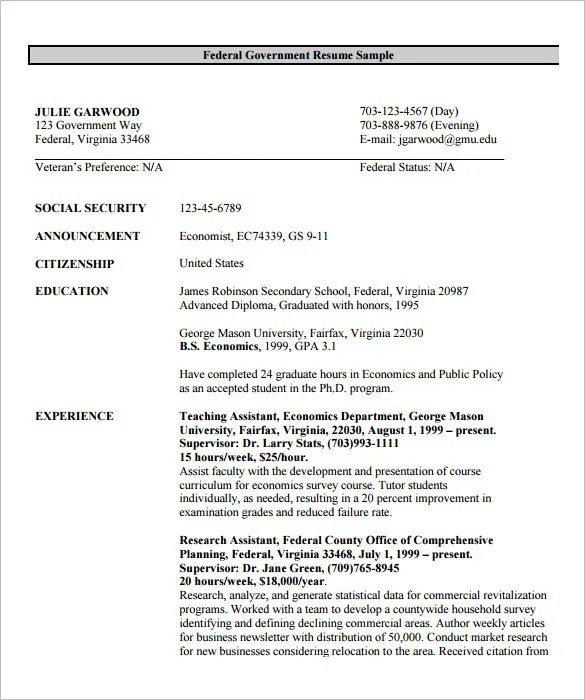 Resume Builder Federal Resume Example Federal Resume Example