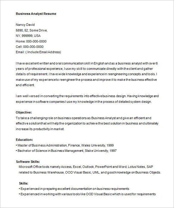 analyst resume sample 2016 business analyst resume sample 2013 ba
