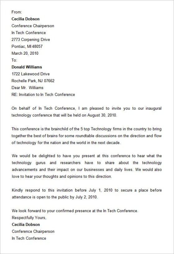 Invitation Letter Format For Doctors Cme. Free Conference Invitation Letter Format  8 Templates Word Doents Sample For Doctors Cme Wedding