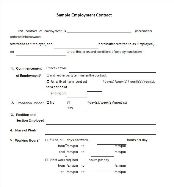 18 Job Contract Templates Word Pages Docs Free