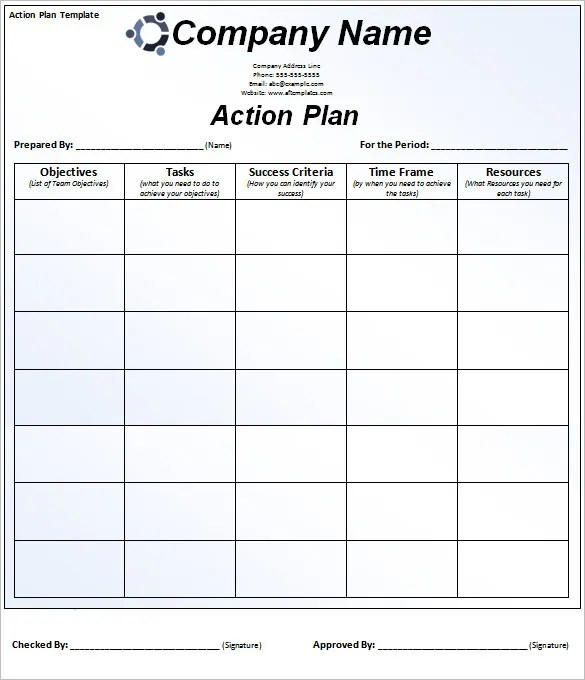 Daily Action Plan Template plan template for excel daily action – Daily Action Plan Template