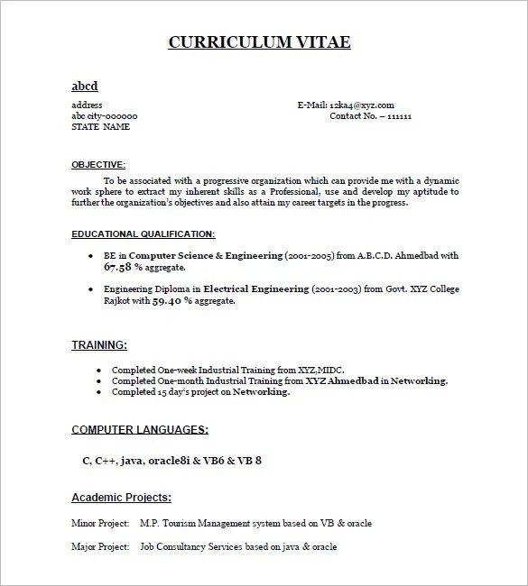Resume Example Pdf. Sample Acting Resume 6 Documents In Pdf Word