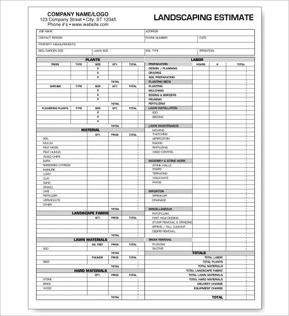 12 Landscaping Estimate Templates Doc Pdf Excel Free