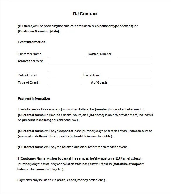 Event Agreement Template 6 dj contract templates free word pdf – Event Agreement Template
