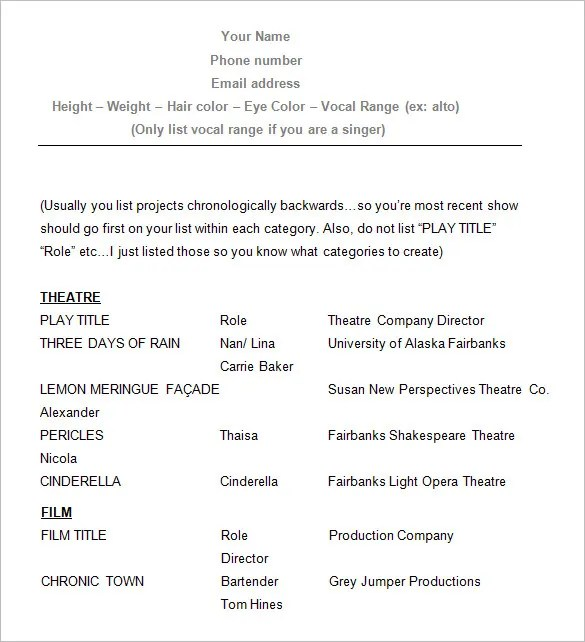 Actor Resume Example. Skills Acting Resume Examples Actor Resumes