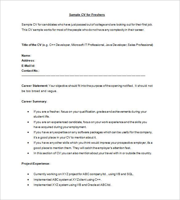 Cv Resume Format For Freshers How To Make Resume For Freshers