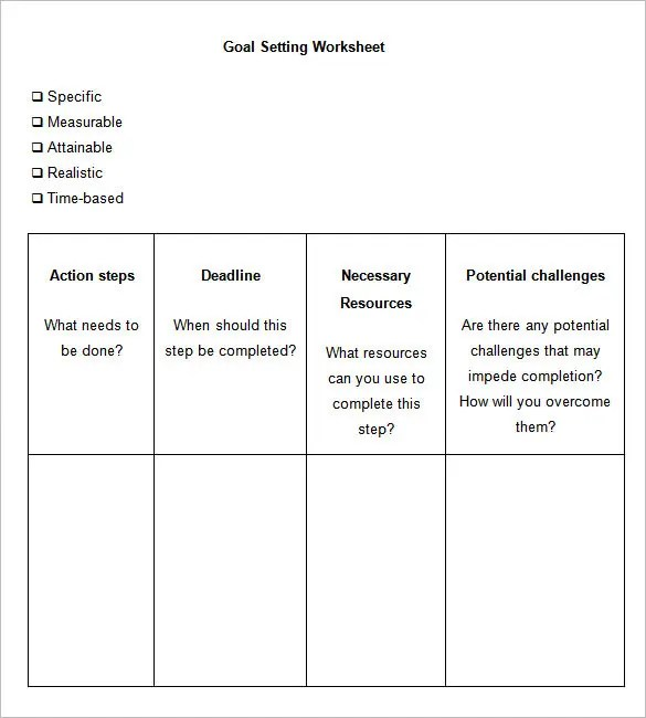 Worksheets Best Written Worksheet For Career Goal Setting goal setting templates best photos of career 5 worksheet free word pdf documents