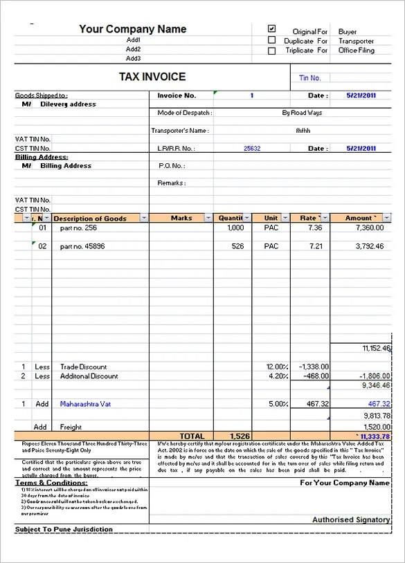 Tax Invoice Template Excel. Invoice Printing Software Gt Gt Vat