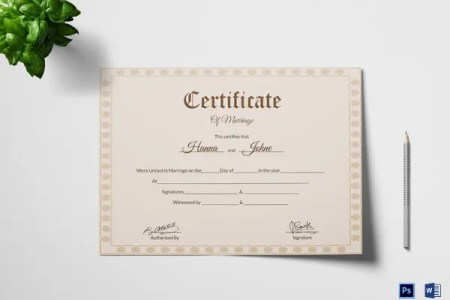 marriage certificate format      Best Free Templates Word   Free Templates     Marriage Certificate Template 12 Word PDF PSD Format Download Simple  Marriage Certificate Agreement Template