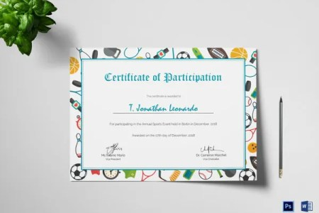 25  Participation Certificate Templates   PDF  DOC  PSD F   Free     Sports Participation Certificate Template