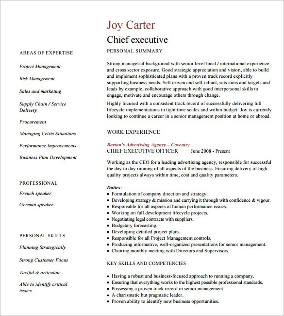 Executive style resume template resume sample 10 executive resume templates free samples examples formats yelopaper Gallery