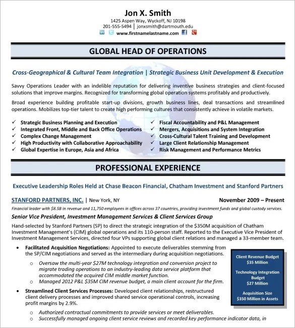 10 executive resume templates free samples examples amp formats