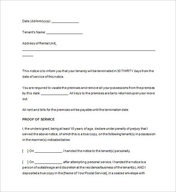 20 Notice To Vacate Templates Pdf Google Docs Ms Word