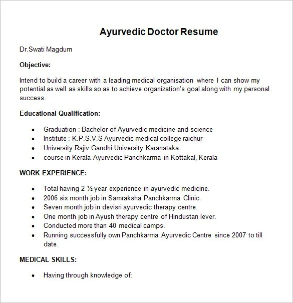 doctor resume templates 15 free samples examples format - Doctor Resume Template